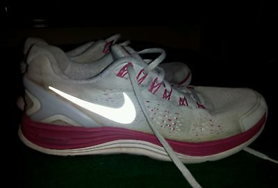 womens gray w/pink detailing 'Nike' Lunarglide athletic/running shoes size 9.5