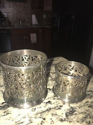 Set 2 Antique Superior Silver Plate Filigree Candle Holders