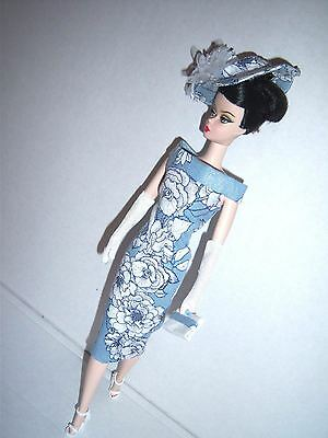 Vintage Barbie & Silkstone OOAK reproduction Blue & White Dress handmade