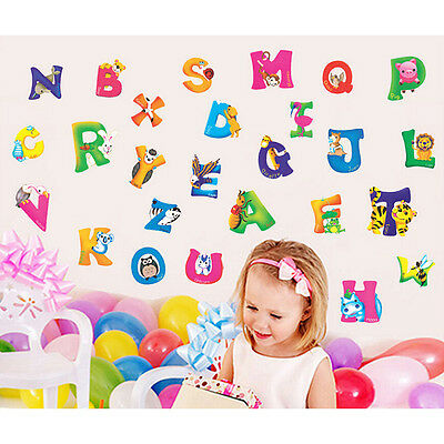 Alphabet&Animals Vinyl Mural Wall Stickers Nursery Kids Room Decals Decor  GL