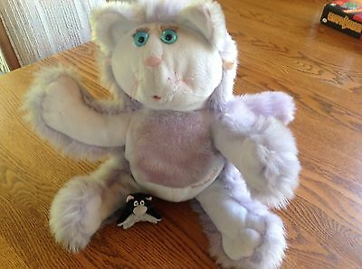 Vintage Fisher Price Purr-Tenders-Plush Cat + Baby ..purple -Stuffed Animal-1987