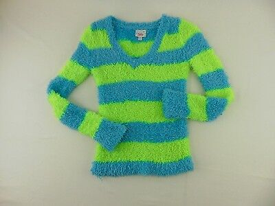 Justice Girls Striped Shag Fuzzy Sweater Soft Stretchy Comfy Size 10
