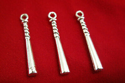 "BULK! 30pc ""baseball bat"" charms in antique silver style (BC158B)"