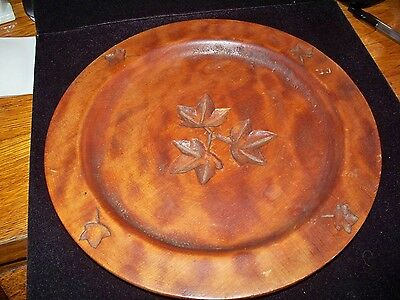 """Wooden Tray, 9"""" Diameter, Carved Leaf Pattern, Nice Wood Stain"""
