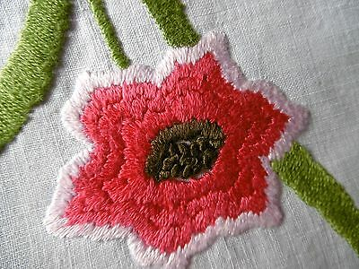 Vintage, Stunning Hand Embroidered Tablecloth, ANEMONES, Hand crochet
