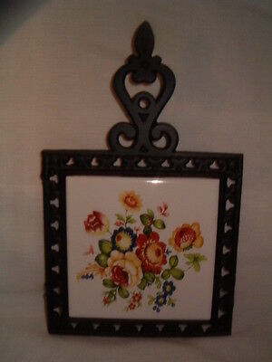 Vintage Cast Iron Colorful Floral Tile Kitchen Trivet Wall Plaque