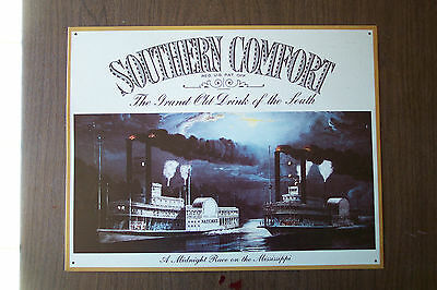 """Southern Comfort Metal/Steel Sign 16""""w 12.5""""t A Midnight Race on the Mississippi"""