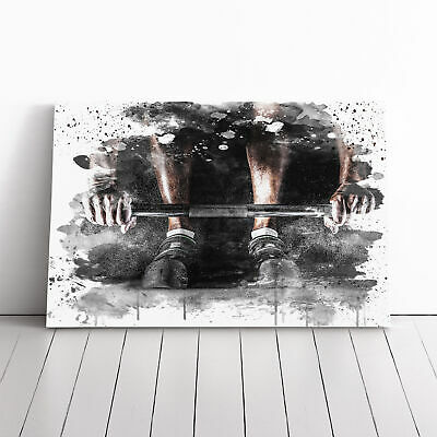 Canvas Wall Art Picture Print Body Building Fitness Weights 2 V3