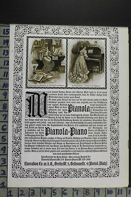 1907 Musical Instruments Pianola Piano Singing Dancing Berlin Vintage Ad Dz089