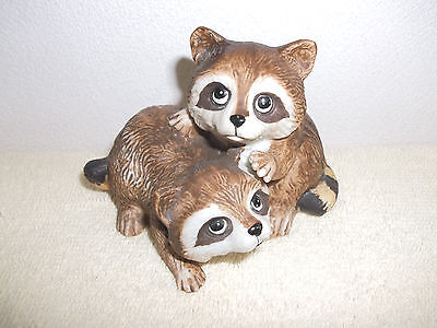 Cute Porcelain Figurine of 2 Young Raccoons
