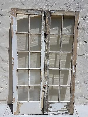 "Pair of Antique Vintage Wood French Doors (48""x80"")"