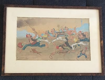 Caricature signed W.Kadoulin 1927 Constantinople ( Istanbul époque Ottoman )