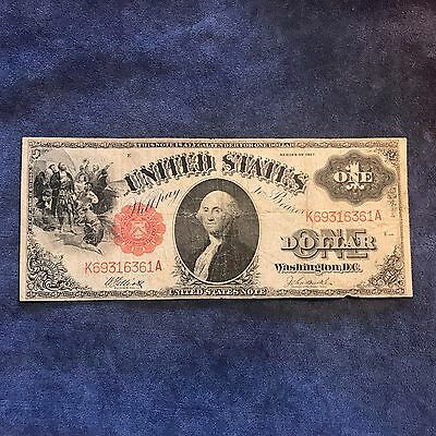 1917 $1 Red Seal United States Note - Large Sized Currency - Free Shipping USA