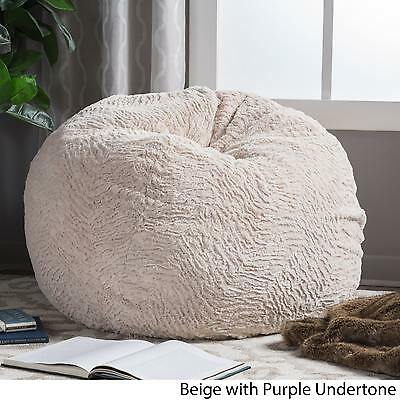 Slacker Faux Fur Shag Beanbag Incredible Comfort Beige/Purple Undertones