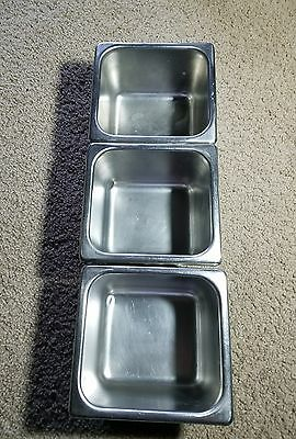 "ABC Ware Stainless Steel Steam Table Pans 6"" squares 4"" deep  Set of 3 no lids."