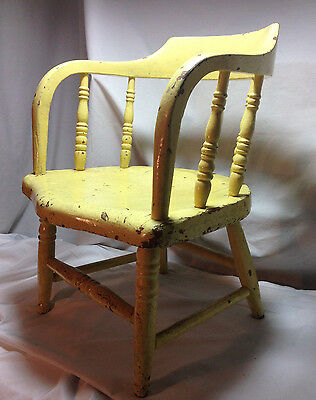 Antique Child's Wood Chair Early Farm Primitive Hand Made Curved Back 1800-1900