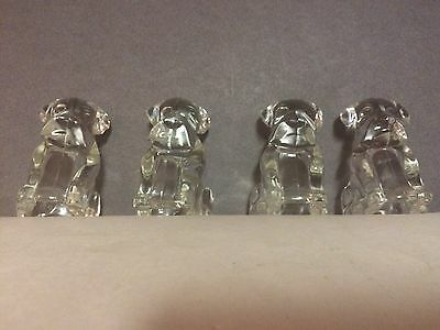 4 Vintage Glass Sitting Puppy Dog Candy Container