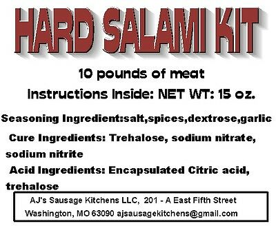 HARD SALAMI complete sausage kit for 10 lbs, Everything except the meat