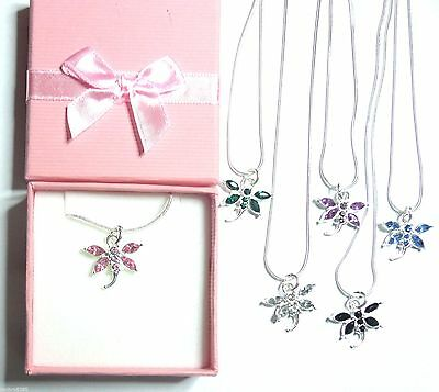 Flower Girl Bridesmaid Coloured Crystal Dragonfly Necklace in Gift Box +bag