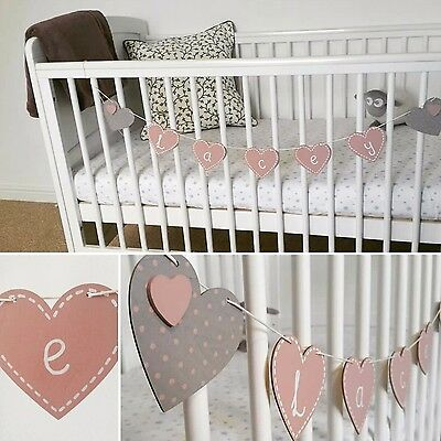 Children's wooden bunting nursery accessory baby boy girl pink blue hearts stars