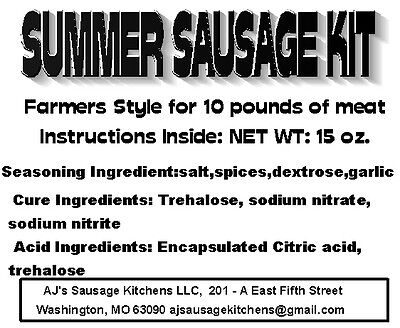 SUMMER SAUSAGE complete sausage kit for 10 lbs, Everything except the meat