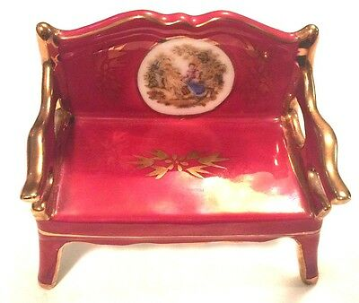 Limoges Miniature Gold and Maroon Bench 3 3/4 Inches Wide 3 1/4 Inches Tall