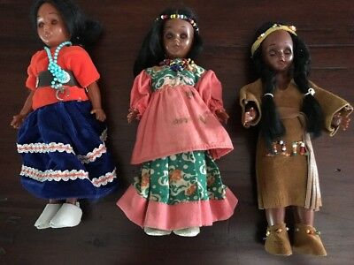 Vintage Native American Dolls Beads Moccasins 1950s Eyes Open Close
