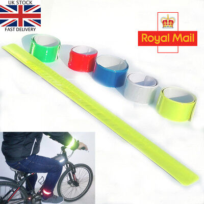 New Reflective Arms Ankle Bands Slap Wrap On Band Hi Viz Cyclist Bike Running