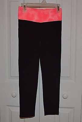 Old Navy Girls M Black Size 8 Coral Orange Waistband Stretchy Cropped Pants