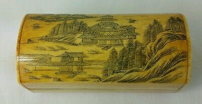 Small Vintage Chinese Bovine Bone Trinket Box With Etched Scene