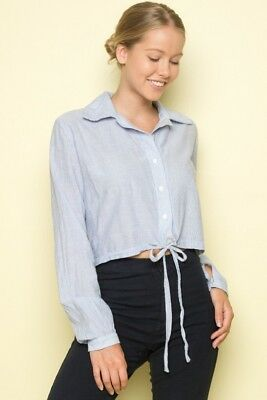 461ef124f79f6 Brandy Melville white blue striped collared button up tie front lenny top  NWT