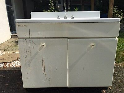Vintage Double Kitchen Sink with Metal Cabinet Base