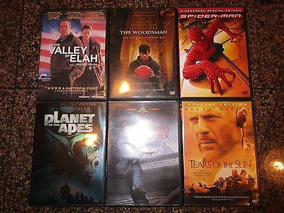 LOT OF 6 DVD's THE WOODSMAN, TEARS OF THE SUN, SPIDER MAN, RED CORNER, VALLEY OF