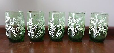 "Vintage Swanky Swig Juice Glasses Green Glass Leaves Fern Lot of 5 4"" tall"