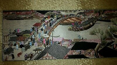 Stunning oriental silk picture tapestry