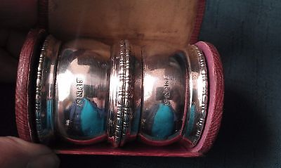Two Vintage Epns Napkin Rings In Case