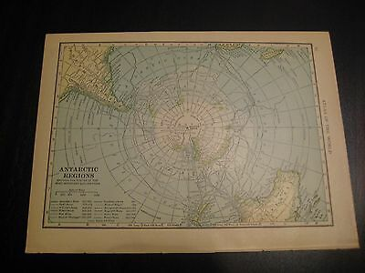 Antique 1914 Map of Antarctic Regions and Eastern Panama Canal