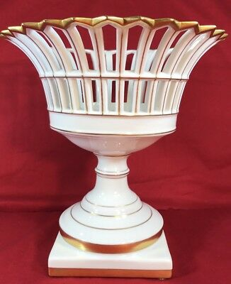 Vintage White And Gold Porcelain Compote Centerpiece, Portugal