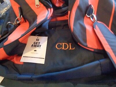 "Pottery Barn teen Get Away rugby stripe blue orange duffle bag  mono ""Griffin"""