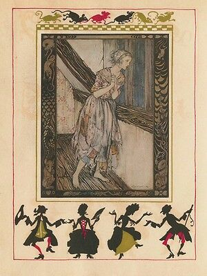 Fairy Tale Postcard: Vintage Print Repro - Cinderella in Rags w Mouse Border