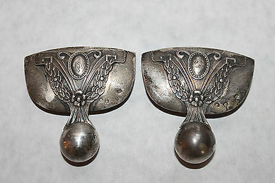 Antique Vintage Russian 875 Silver Clips ? Ornamentation? Signed AE