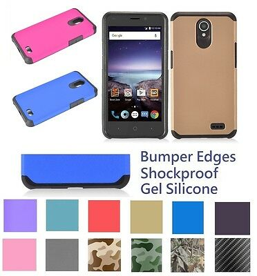 FOR ZTE ZFIVE 2 LTE Z836 Shock Proof Cushion Edge Case Hybrid Slim Bumper  Cover
