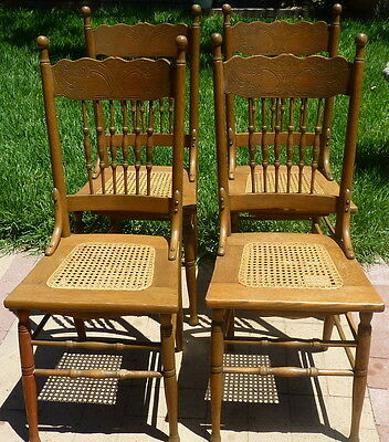 Set of 4 Antique Press Back Chairs