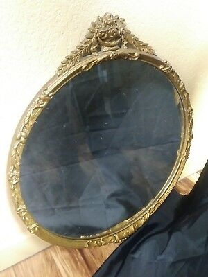 "SPLENDID - ANTIQUE Gold Gilt Ornate Carved Wooden Wall Mirror ROUND 34"" x 30"""