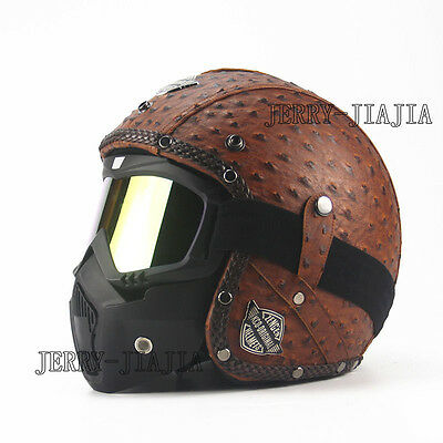 Vintage Leather Motorcycle Open Face Half Helmet Halley Helme 3/4 With Face Mask