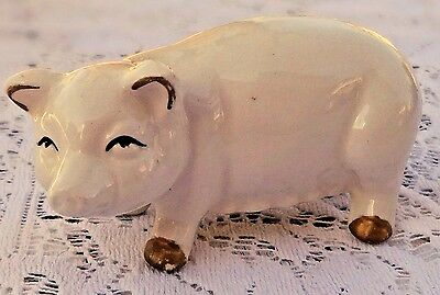"VINTAGE 1950's CERAMIC WHITE PIG FIGURINE - MADE IN JAPAN - 3.75"" LONG 2"" TALL"