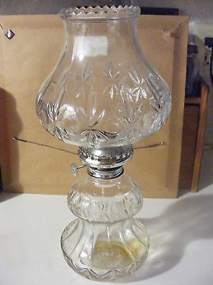 Lamplight Farms Vintage Glass Oil Lamp Made In Austria-Heavy Pressed Glass Base