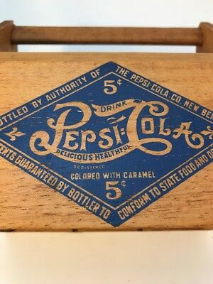 Vintage Pepsi-Cola Wooden Bottle Carrier With Handle
