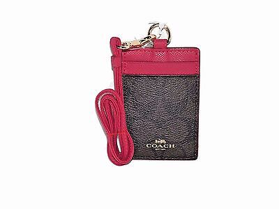 Coach Signature Brown PVC Canvas Red Leather Lanyard, Badge ID Card Holder 63274