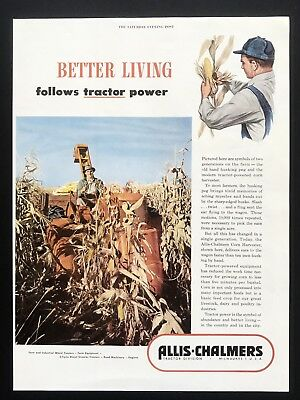 1949 Vintage Print Ad ALLIS CHALMERS Red Tractor Division Farm Equipment